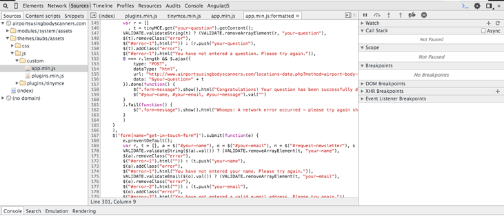 Google Chrome Inspector Sources module displaying uncompressed JavaScript code